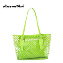 Fashion Women Candy Color Totes Clear Transparent Handbag Tote Shoulder Bags Beach Bag Popular Style(China)