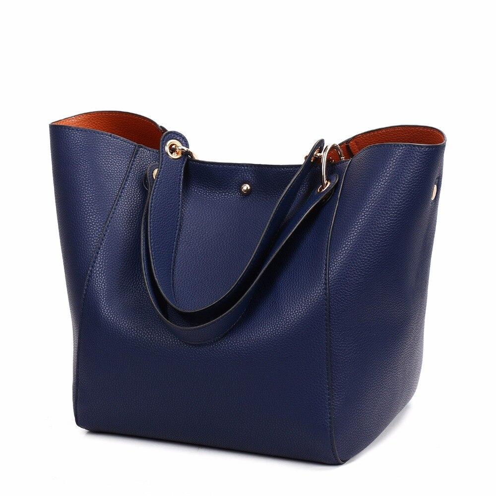 Black fashion Women handbag large bucket shoulder bag female high quality artificial leather top sale handle bag<br>