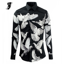 Fashion Pigeons Print Men Shirt Brand Clothing Slim Fit Black Man Shirts Long Sleeve Social Mens Shirts Perfect version Camisa(China)