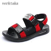 Boys sandals 2018 summer high quality cow split kids boys sandals hook&loop children beach shoes buckle decor boys shoes