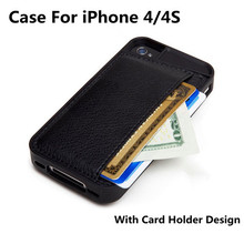 High Quality TPU Leather Case For Apple iPhone 4 4s Back Cover Wallet Cases For iPhone4 4 s covers With Card Holder Design