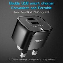 Baseus 5v 2.4a universal dual usb travel charger adapter of the portable charger uk plug smart mobile phone quick charger tablet(China)