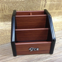 Wooden Desktop Organizer Storage Box Pen Pencil Box Jewelry Makeup Holder Stationery Brown Office storage rack(China)