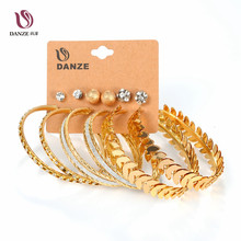 DANZE 6 Pair/lot Fashion Silver Gold Color Big Circle & Stud Earrings Set for Women Girls Large Steel Brincos Aros Jewelry