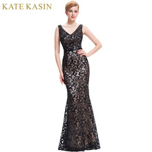 Kate Kasin Black Long Prom Dresses 2017 Double V Neck Slim-Line Wedding Party Formal Gown Women Ball Dress Cheap Prom Dresses(China)