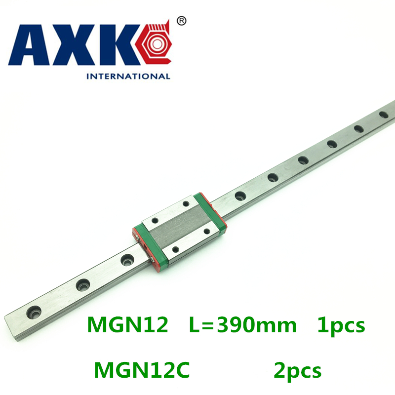 2018 New Axk Cnc Router Parts Linear Rail 1pc 12mm Width 390mm Mgn12 Linear Guide Rail + 2pc Mgn Mgn12c Blocks Carriage Cnc<br>