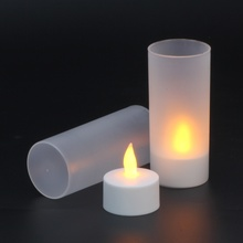 LED Flameless Tealight Portable Rechargeable 12 Tea Light Candles Lamps with Flickering Amber LEDs Holders Charging Station.