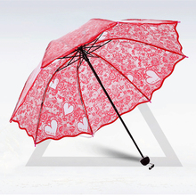 Color Transparent White Heart Sun Rain Umbrella For Women High Quality Red lace popular Rose Flower Pattern Wedding umbrella