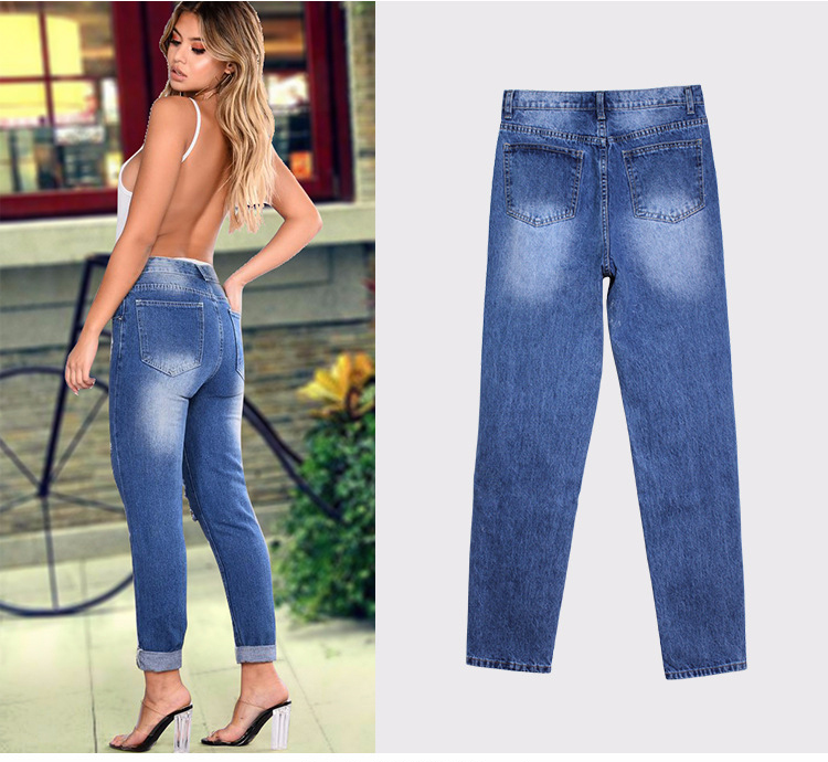 2018 Casual European Station Europe and the United States Style BF Wind Women Sequin Straight Hole Large jeans New Loose pants (7)