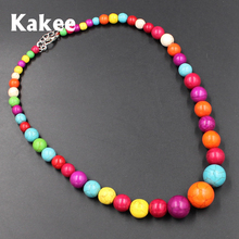 Kakee Minimalist Fashion Jewelry Gift Round Strand Stone Statement Women Turquoises Bead Necklace Choker Maxi Collar