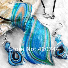 topstore 6Sets/Lot Blue Lampwork Glass Murano Pendant Necklace Earrings FASHION