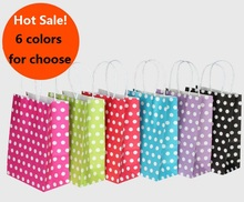 10PCS/lot Polka Dot kraft paper gift bag with handles 21*15*8cm Hotsale Festival gift bags DIY multifunction shopping bags(China)