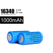 3.7v Li Ion Battery 16340 1000mah Battery 100pcs/lot Rechargeable Charging 500 Times For Headlamp Laser Pen LED Lithium Battery