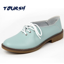 TOURSH Flat Genuine Leather Shoes Woman Casuals In Women'S Flats Lady Woman Fashion Female Shoes Moccasins Ballet Flats Black8.5