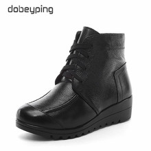 New Arrival Genuine Leather Women Winter Boots Plush Snow Ankle Boots Woman Keep Warm Female Botas Waterproof Mother Flats Shoes(China)