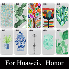 green tropical paradise Hard Case for huawei P9 P8 P7 P6 P10 Lite p8lite plus Honor 8 Lite 4C 4X 6 7 G7 CASE cover