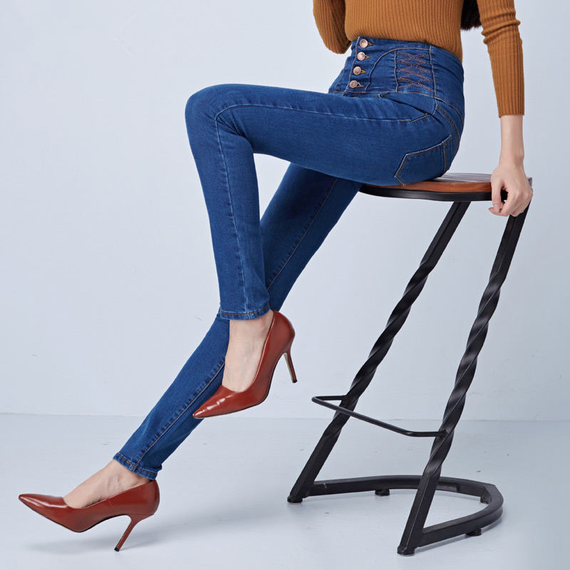 Spring Skinny Jeans Woman Slim High Waist Jeans For Women Work Office Stretch Pencil Jeans Long Pants Denim Trousers Women C4348
