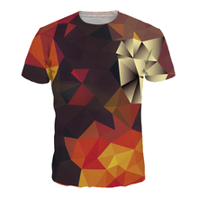 New Fashion Women/Men Casual Tops Short Sleeve Shapes Geometric Colour Gradient Grid 3D Digital Print T-Shirt