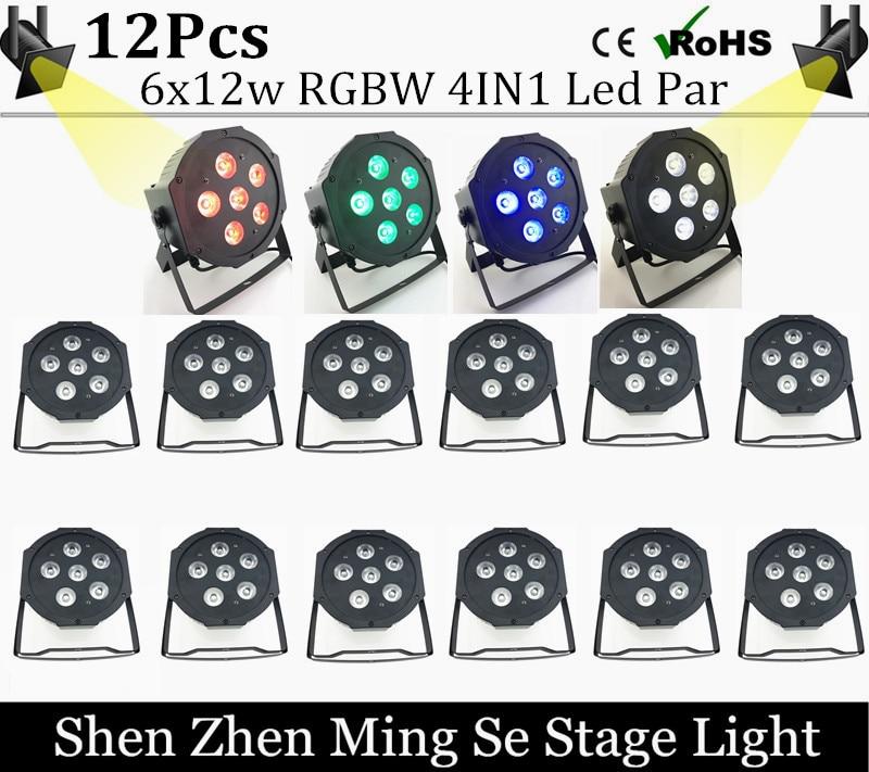 16pcs/lots 6x12w led Par lights RGBw 4in1 led flat par dmx512 controller disco lights professional stage dj equipment<br>