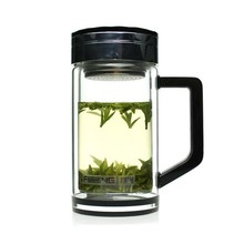 High-end glass double wall Strong cup bottom Shatterproof for office hiking 320ml borosilicate glass cups with tea filter