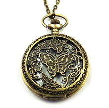 TOP NEW pocket watch Rose hollowed Butterfly Flowers Casual dress chain necklace Lady woman women fancy(China)