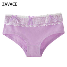 Buy ZAVACE underwear women Comfortable Cotton Candy-colored lace bow lovely panties girls panties women's underwear #51