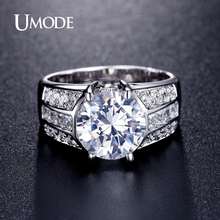 UMODE Classic Design Big Simulated CZ Stone Rings Fashion Wedding Band Jewelry for Men Women Lot Bijoux En Gros Bagues UR0331(China)