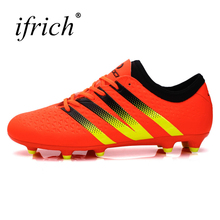 Ifrich Original Football Boots Men Long Spikes Football Sneakers Outdoor Training Soccer Shoes Black/Orange Soccer Boots Cheap