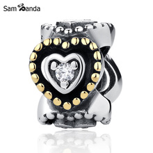 Sam Panda Authentic 925 Sterling Silver Beads Celebration of Love Spacer DIY Charms Fit Bracelets & Bangles Gift Jewelry(China)