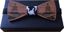 Original New design the White House paint Wood bowtie butterfly bowknot mens tie wooden bow ties free shipping