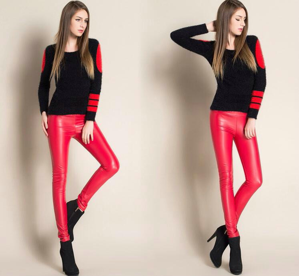 Leggings winter Women High Waist PU Leather Legging Slim Faux Pants Female Fashion Warm Leggings Women 070208