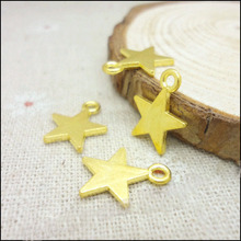 High Quality 50 Pieces/Lot  13mm*15mm Diy Jewelry Making Alloy Metal Charm Gold Color Small Star Charms