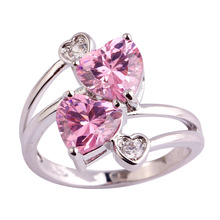 lingmei Free Shipping Lady Heart Pink & White AAA CZ Jewelry Silver Color Ring Size 6 7 8 9 10 Fashion Women Party Wholesale