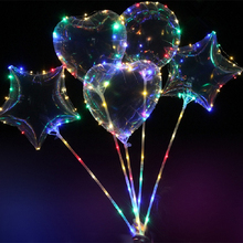 Wholesale 50PCS Clear Heart Star Bobo Balloon With 3M Led Strip Wire Luminous Led Balloons wedding birthday party Decoration Toy(China)