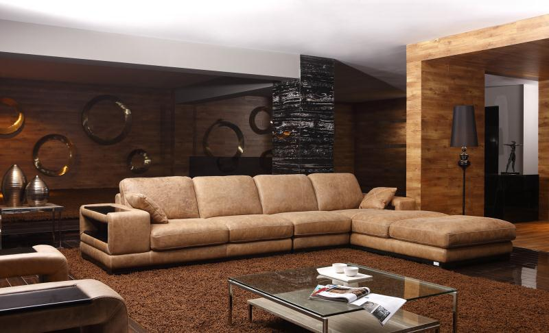Top quality good design living room sofa set genuine leather sofa set L shaped modren style home furniture(China)