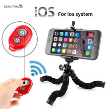 2-1 Car Phone Holder Wireless Bluetooth Timer Remote Shutter Button with Flexible Octopus Tripod Bracket Selfie Stand Mount(China)