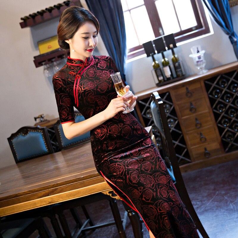 Black-Red Traditional Chinese Dress Women\`s Satin Long Cheongsam Qipao Flower Short Sleeve Chinese Oriental Dresses Size M-4XL (1)
