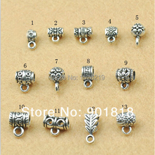 20pcs/lot Antique Silver Color Charm Bail Beads Pendant Clip Clasp Connectors for Bracelet Necklace Jewelry Making Accessories