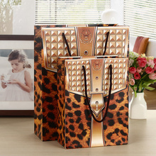 Animal Print Paper Bags Lamination PP Rope For Fashion Shop Cloth Boutique Business Present Packing Bags Gift Punches