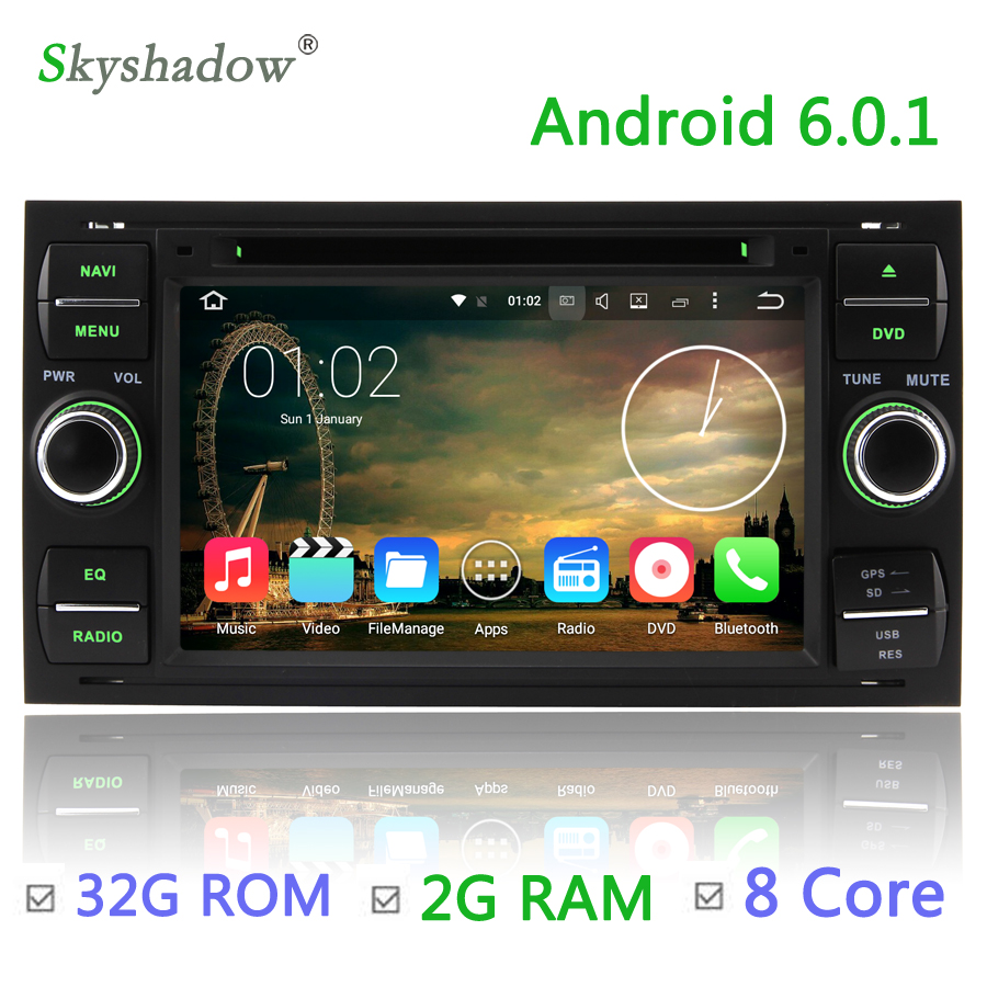 Octa core 2g ram 32g rom android 6 0 car dvd player radio for ford transit fiesta galaxy fusion c max s max focus kuga mondeo