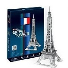 T0392 3D Puzzles Paris Eiffel Tower DIY Building Paper Model Kids Silver Color 33 Pieces Creative Children's educational toys(China)