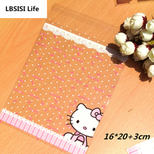 100pcs 16x23cm Hello Kitty Dot Cookie Food Big Size Bag Self Adhesive Bag Plastic Baking Gift Packing Bag(China)