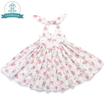 Baby Girl Clothes 2017 Brand Girls Summer Dresses Vintage Floral Print Backless Tie Design for Kids Girls Princess Party dress(China)