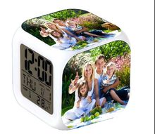 Customize Family Photo LED 7 Colors change digital Alarm Clock the Rmometer touch light electronic Toys Custom for families