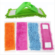 Floor Folding Flat Mop Head Coral Velvet Chenille Refill Replace Microfibre Fabric Replacement Cloth Easy Wash No Handle 40x12CM