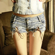 Hodisytian New Fashion Women Shorts Denim Mini Shorts Super Short Ribbon Ripped Skinny Night Club Jeans Frazzle Loose Sexy Hot