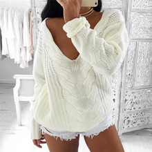 Women's Sweaters Winter Solid White Tops Long Sleeve Knitted Loose Sweater V-Neck Knitwear Pullovers Jumper Gilet femme manche(China)