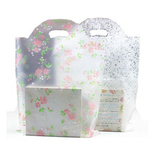 6 sizes Large handle Plastic gift bag,small lace plastic shopping bag with handle, Boutique Gift Packaging Plastic Shopping Bag(China)