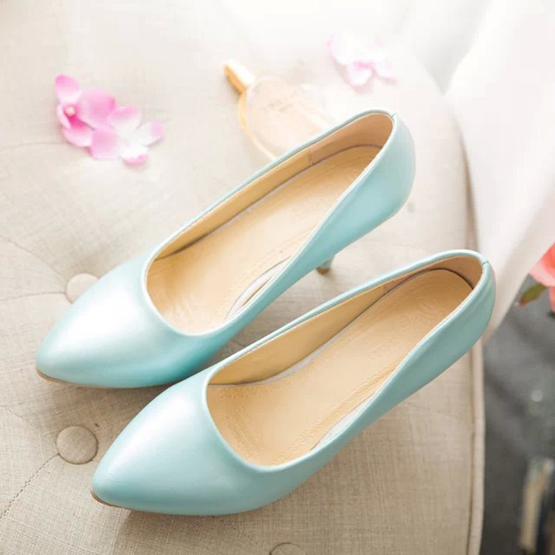 The spring and Autumn period and the new high heels pumps sweet color thin shallow mouth shoes OL workplace sexy womens shoes<br><br>Aliexpress