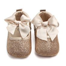 Shiny Toddler Baby Girl Princess Srewalker Shoes Pure White Soft Sole Shoes Infant Leisure First Walkers(China)